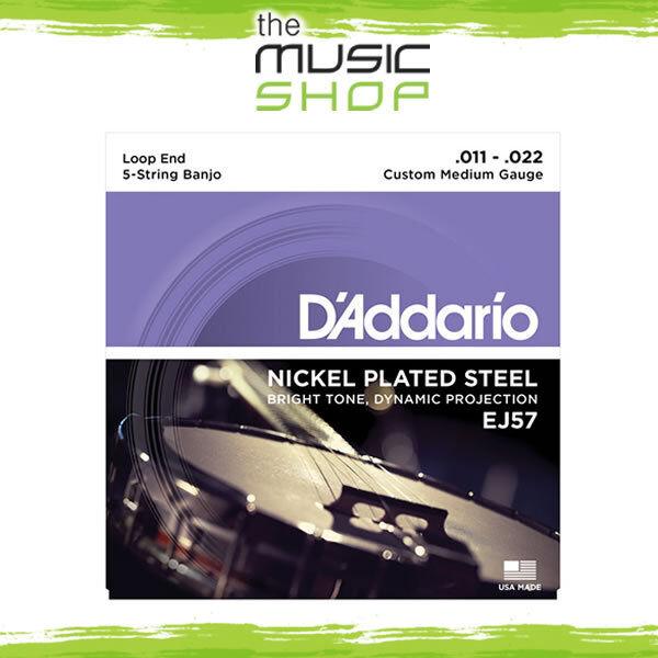D'Addario EJ57 5-String Nickel Banjo Strings - Custom Medium 11-22 - Daddario