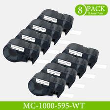 8pk Compatible For Bmp 53 Mc1 1000 595 Wt Bk Label Tape Black On White