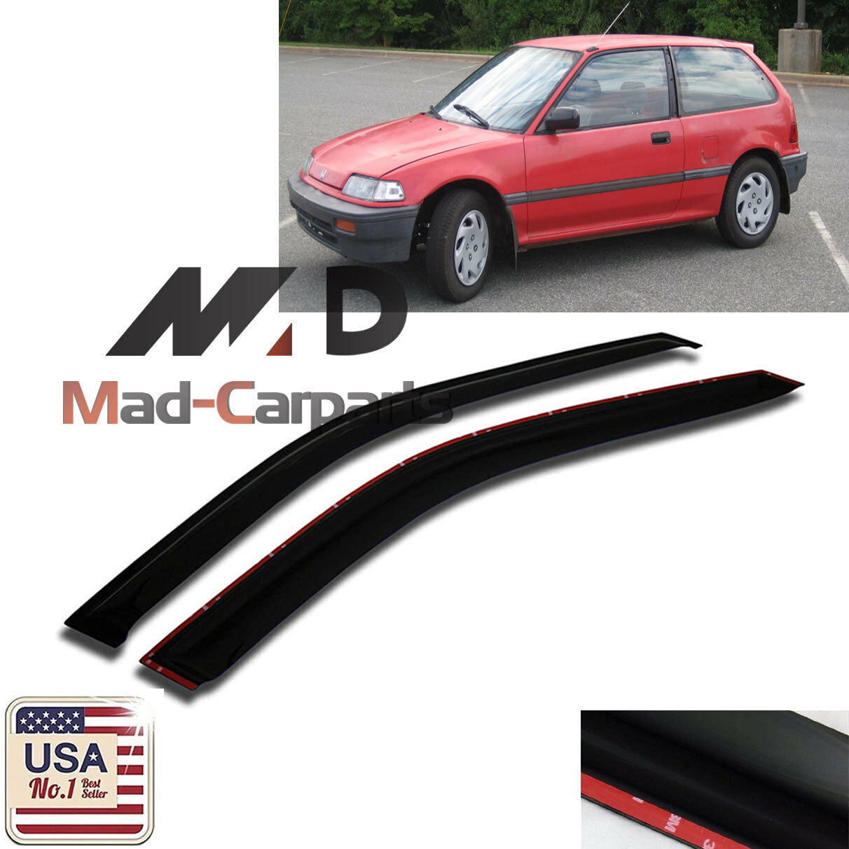 MAD 2pc Window Deflector Visor Shade Rain Guard For 1988-1991 Honda Civic Coupe