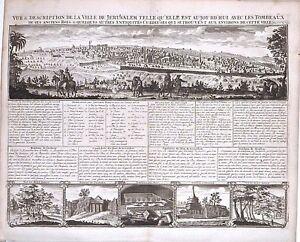 Antique-map-Vue-amp-description-de-la-ville-de-Jerusalem