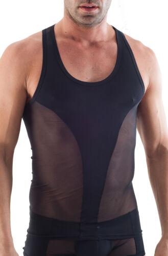 Geronimo Da Uomo Sport Nero Netto Canotta senza maniche T-Shirt Tank Top vedere attraverso