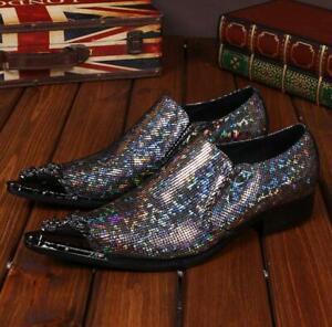 Details zu Herren Party Leder Spitz Clubwear Glitzer Hochzeit Business Anzug Slipper Schuhe