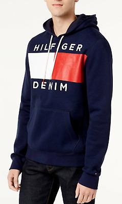 Tommy Hilfiger Men/'s Navy Blue Brooks Logo Print Pullover Hoodie