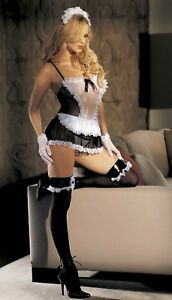 Sexy-Maid-Costume-Black-White-Baby-Doll-G-string-Stockings-Cap-One-Size-90029