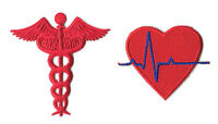 Ekg Heart - Caduceus Medical Emblem - Embroidered Iron On Applique Patch - Red