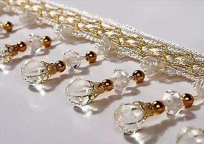 12Yard Curtain Tassel Crystal Beaded Fringe Trim Upholstery Fabric Ribbon Modern