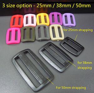 3-Bar-Plastic-Strap-Buckle-Adjuster-25mm-38mm-50mm-Webbing-Belt-Strapping-Slider