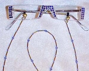 !! TANZANITE CRYSTAL READING GLASSES (only with Swarovski Elements 1.00 gold !!