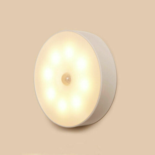 8Bulbs LED Motion Sensor Lights USB Rechargeable Wireless Cabinet Magnetic Night