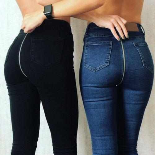 Back Zipper Stretchy Denim Skinny Shade Jeans Pants Women High Waist Trousers