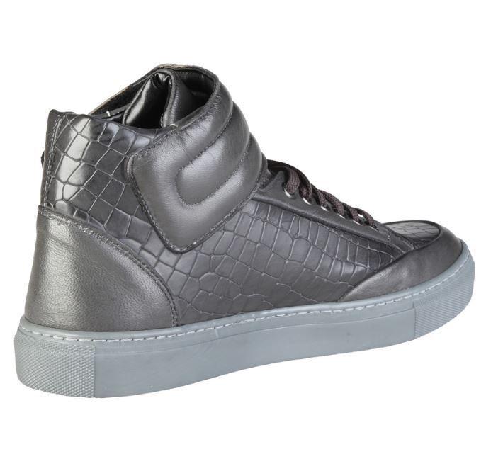 Versace V1969 NORBERT grau Echtleder Hi 41 Top High Sneaker Gr 41 Hi 42 07eb0f