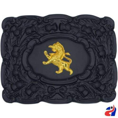Scottish Piper Kilt Belt Buckle Lion Rampant Golden Badge Black Finish