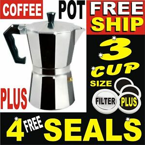 3-CUP-ITALLIAN-COFFEE-PERCOLATOR-STOVE-TOP-CAST-ALUMINUM-POT-LATTE-GROUND-BEANS