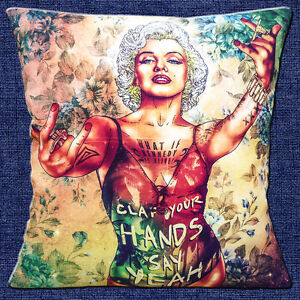 Marilyn-Monroe-16-034-x16-034-40cm-Cushion-Cover-Fab-Ciraolo-Art-039-Clap-Your-Hands-039