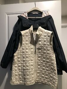 NWT-Coach-2-In-1-Misses-Jacket-Zip-Out-Liner-Hood-L-Coach-Garment-Bag-Navy-Bone