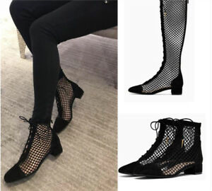 ad88588a50e Womens Summer Ankle Knee High Boots Chunky Heel Leather Mesh Hollow ...