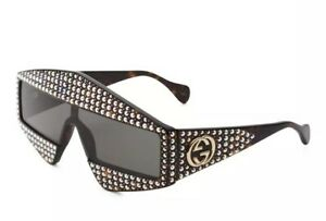 af93c298ca Image is loading GUCCI-Rectangular-frame-Acetate-Sunglasses-with-Crystals -Luxury-