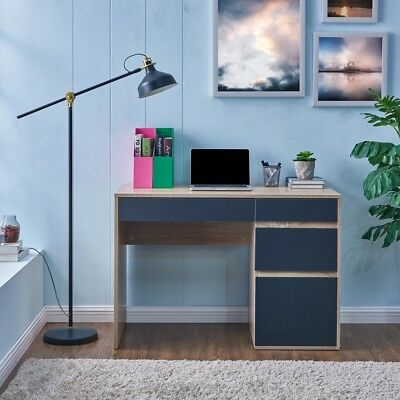 Oak Finish Laptop Computer Desk with White or Grey Storage Drawers Home Office