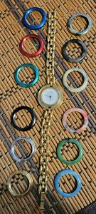 Vintage 1990s Women's Gucci Bezel Changing Watch Wristwatch, Gold Tone 11/12.2