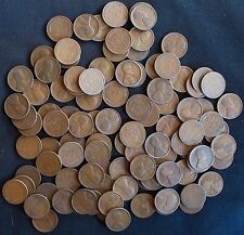 TEENS MIXED DATE LINCOLN WHEAT CENT PENNY 1C GOOD TO FINE 2 FULL ROLLS 100 COINS