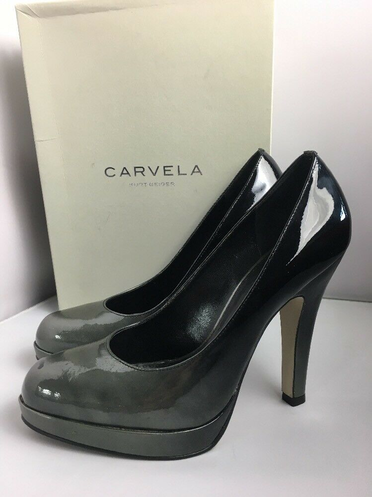Kurt Geiger Carvela Gunmetal Black Shoes 6 Courts Chunky Heel Patent Leather
