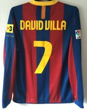 Barcelona David Villa 7 LS Football Shirt 2010/11 Adults Medium Nike