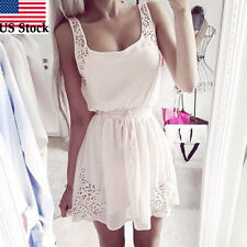 Women Summer Sleeveless Dresses White Chiffon Cocktail Short Mini Dress M US