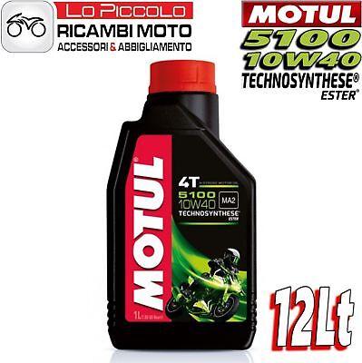 12 Litri Lt Olio Motore Moto Motul 5100 10w40 Ma2 4 Tempi Technosynthese Estere