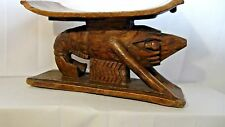 ANTIQUE 18c RARE  AND UNIQUE AFRICAN TRIBAL WOOD CARVED SHRIMP FORM STOOL