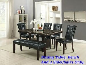 Astounding Details About Black Faux Leather 4 Side Chairs Bench And Dining Table Dining Room Furniture Machost Co Dining Chair Design Ideas Machostcouk