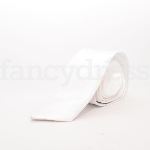Da Uomo in Raso Cravatta Slim Tinta Unita Bianco Costume Festa Di Nozze Cravatta Nuovo