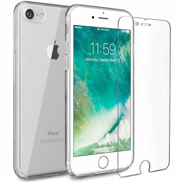 Clear Case Cover Gel and Tempered Glass Screen Protector For Apple iPhone 8 Plus