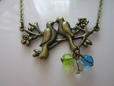 Bird charm pendant necklace antique bronze vintage retro glass beads steampunk