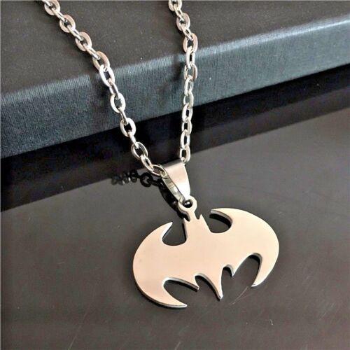 Batman Dark Knight Symbol Logo Necklace Pendant on Chain or Waxed cord silver
