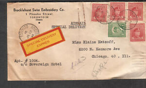 Canada 1946 airmail Special Delivery Express cover Brocklehurst Toronto to Chica