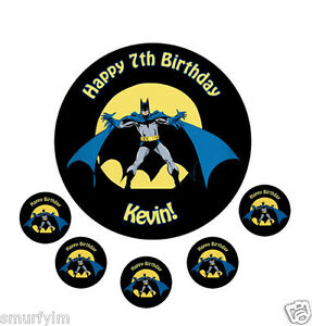Batman Birthday Edible Cake Topper circle ICING SUGAR Sheet 75 eBay