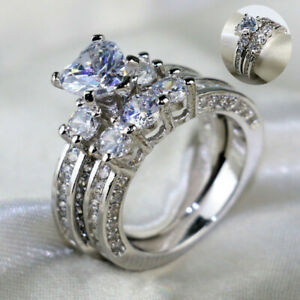 Rings-Topaz-Wedding-Ring-Heart-925-Silver-White-Three-Stone-Couple-His-and-Hers