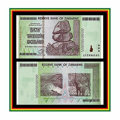 100 TRILLION ZIMBABWE DOLLAR MONEY CURRENCY BILLION Million 5 10 20 50 UNC.