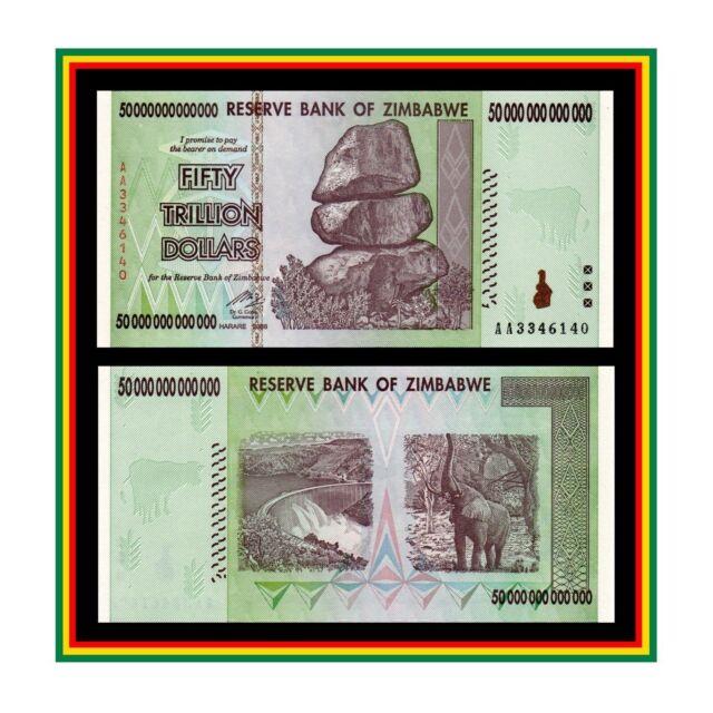 50 Trillion Zimbabwe Dollar Money Currency Uncirculated 10 20 100