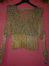 LORIS AZZARO Gorgeous Gold/Silver Sequin knit Chain Fringe Cardigan VTG 1970 - S