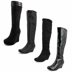 Ladies-Womens-Long-Boots-Wedge-Heel-Knee-High-Synthetic-Leather-Shoes-UK-Sizes
