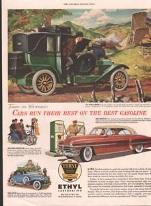 1953 Ethyl Print Ad Gas Features Full Color Vintage Cars Details Frame 4 Decor Ebay
