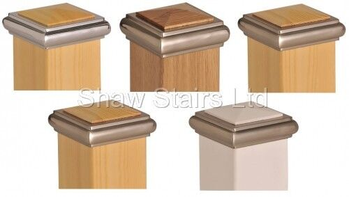 Axxy Solo Stair Post Caps Full // Half Chrome // Brushed Pine // Oak // White