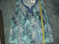JACLYN SMITH BLUE LEOPARD STYLE SLEEVELESS TOP JEWEL EMBELLESHED SIZE XL NEW
