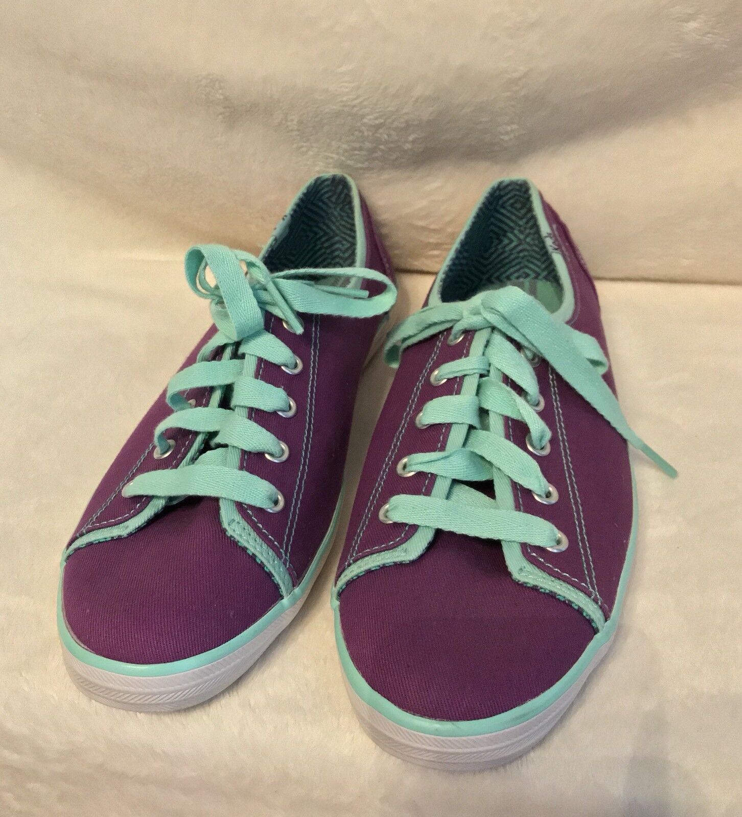 NEW KEDS Purple Canvas, Turquoise bluee Trim Tennis shoes Sneakers shoes  - 8.5