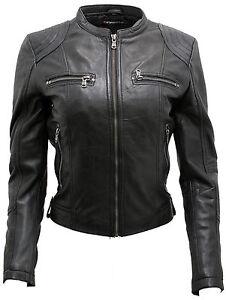 Classic Jacket Leather Women's Biker Black Real PdWUzqvBw