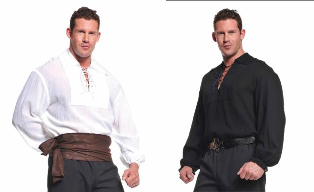 Pirate Shirt Ruffled Renaissance Fancy Dress Halloween Adult Costume X-Large