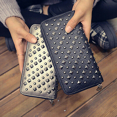 Fashion Women Punk Faux Leather Clutch Wallet Rivet Holder Purse Handbag