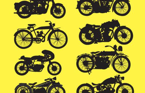Yellow Vintage Motorcycles Black Ballpoint Pen Motorbikes Retro Gift #14459