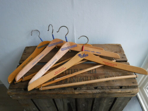 Vintage wood men/'s clothes coat hangers Dutch advertising lot of eight very rare
